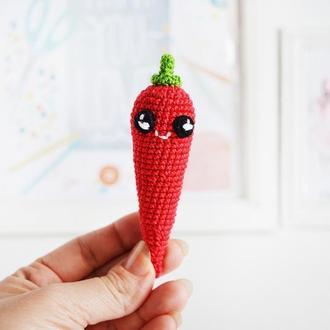 Красный перец чили, вязаная игрушка крючком