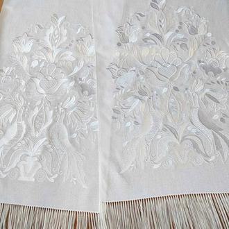 Белый свадебный рушник Оберег. Дерево жизни белым по белому