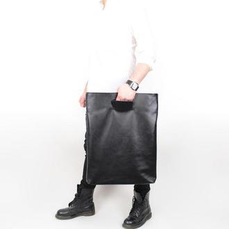 Велика чоловіча шкіряна сумка клатч Big Thing, чорна сумка з м'якої шкіри у мінімалістичному стилі