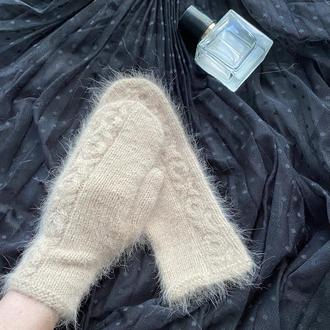 Вязаные варежки из пуха норки, Пушистые Варежки ручной работы