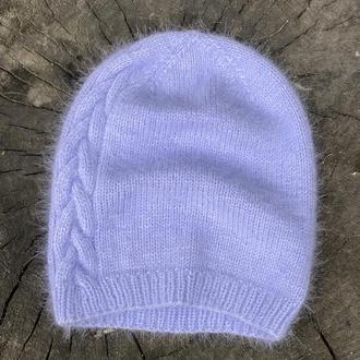 Сиреневая женская шапочка бини, Вязаная шапка из пуха норки, Шапочка-бини ручной работы