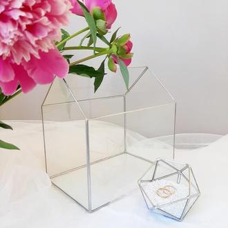 Стекляная шкатулка для колец и сундук для конвертов, набор. Свадебная казна, коробочка под кольца.