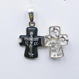 Крест крестик Цветочный складень детский женский, серебро 925, родий