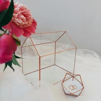 Стеклянная шкатулка и сундук для конвертов, набор. Свадебная шкатулка для обручальных колец.