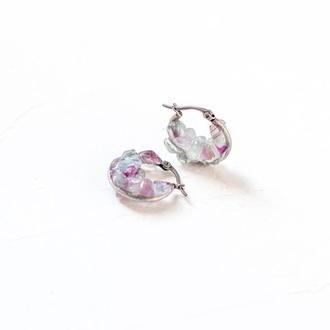 Сережки кільця флюорит - кульчики - кольца серьги - сталь - круглые с флюоритом