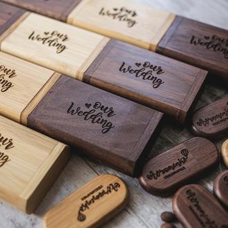 Коробка из дерева для упаковки деревянной флешки или подарка + USB