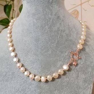 Намисто з натуральних перлів з сріблом кольє перли ідея подарунка ручна робота