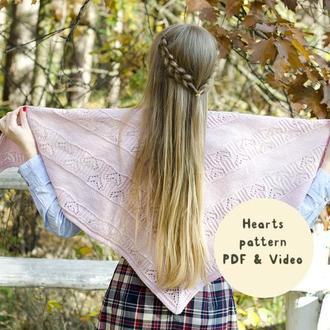 Схема вязания: Шаль Hearts