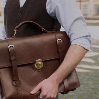 Кожаный деловой портфель