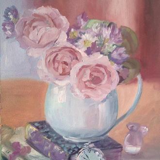 Букет роз картина маслом