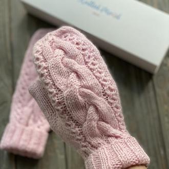 Вязаные рукавички с косой, Розовые варежки, Вязаные варежки с косой