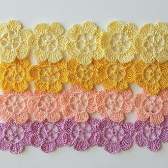 20 вязаных декоративных цветов 4×4 см, декоративные аппликации