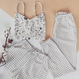 Белая летняя пижама тройка в клетку