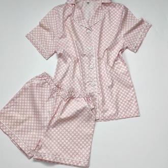 Пижама в горох с белым кантом
