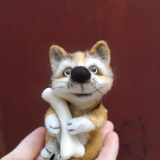 Собачка валяная игрушка собака