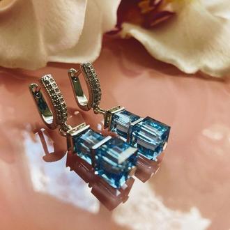 Голубые серьги из кубических кристаллов Swarovski, гематитовых бусин