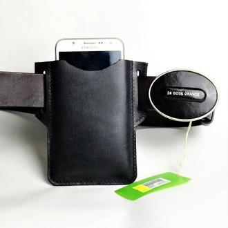 Кожаный чехол для смартфона с креплением на пояс