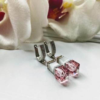 Розовые серьги  из кубических кристаллов Swarovski