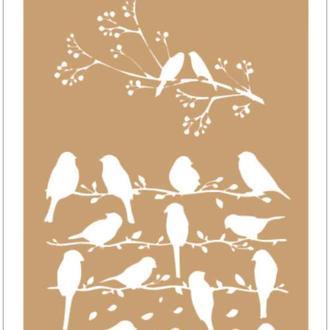 Трафарет 13х19 см Птички на ветке