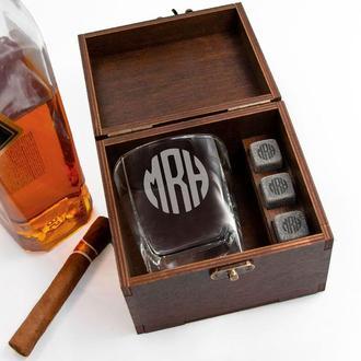 Охолоджуючі камені для віскі з гравіюванням і склянкою в дерев'яній коробці