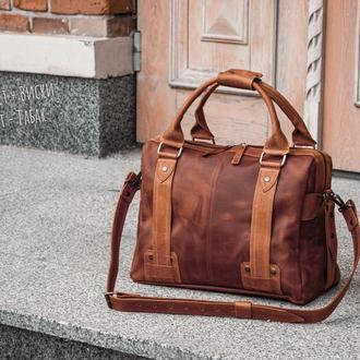 Мужской кожаный саквояж, Мужская сумка для ручной клади