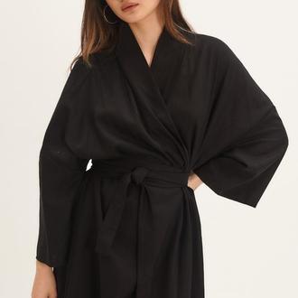 Черное длинное платье-кимоно из льна
