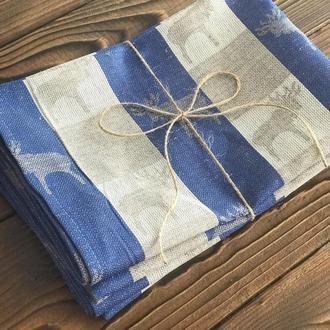 Льняное полотенце с лосиками