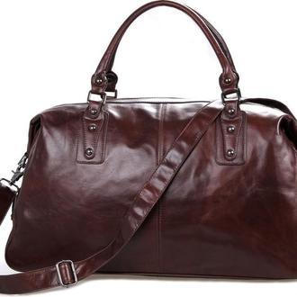 Стильная, винтажная мужская дорожная сумка-саквояж ручной работы.Натуральная кожа