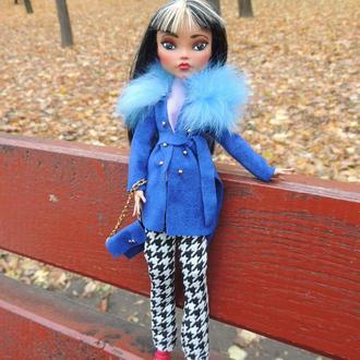 Одежда для Монстер Хай. Пальто с меховым воротником и брюки для кукол Monster High, Ever After High