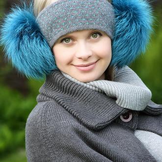 Повязка на голову с наушниками из натурального меха финской лисы.