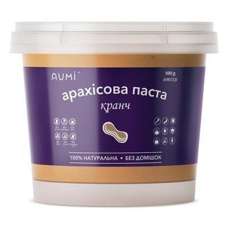 Арахисовая паста КРАНЧ, 500г, ведро, с хрустящими кусочками арахиса, натуральная без добавок