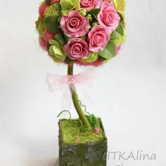 Дерево счастья с розами ручной лепки