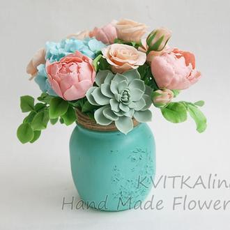 Букет цветов из полимерной глины в интерьер