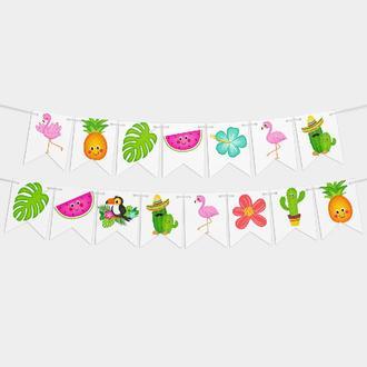 Гирлянда на день рождения девочки Фламинго 8 флажков