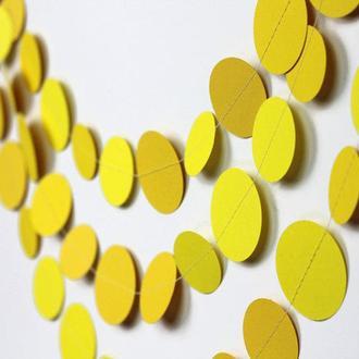 Гирлянда бумажная Круги 10 см желтая 5  метров