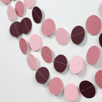 Гирлянда бумажная Круги 7 см Розово-фиолетовая 5 метров