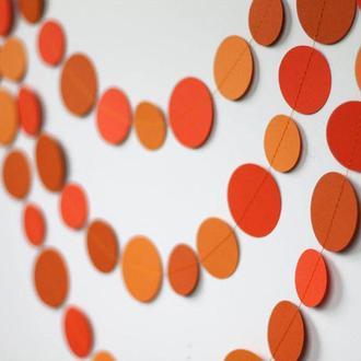 Бумажная гирлянда Круги 20 см Оранжевая Микс 5 метров