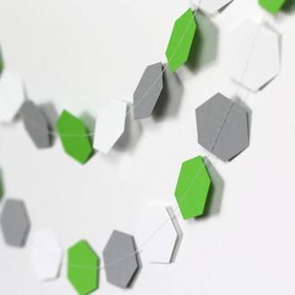 Гирлянда бумажная Соты 5,5 см Серо-бело-зеленая 5 метров