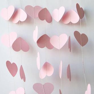 Гирлянда бумажная Сердца 15 см Розовая 5 метров