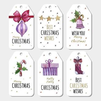 Открытки для подарков Рождественские 6 штук