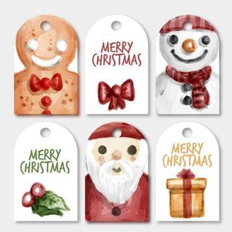 Открытки для подарков Новогодние 6 штук