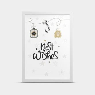 Постер Новогодний Best wishes 30*40 см
