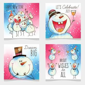 Открытки Новогодние Снеговик 4 штуки