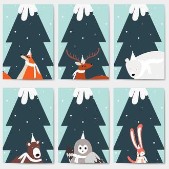 Открытки Новогодние Лесные звери 6 штук