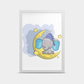 Постер на стену Слоник на луне 20*30 см