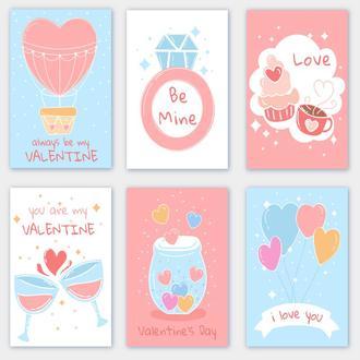 Открытки на день Святого Валентина Голубые 6 штук