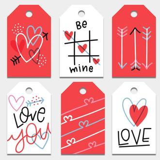 Открытки для подарков на день влюбленных Красные 6 штук