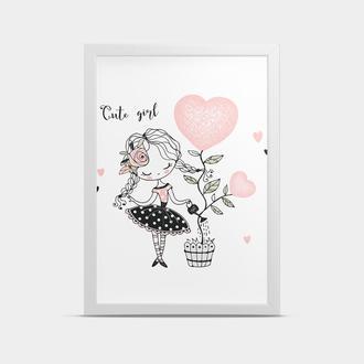 Постер на стену в детскую Девочка и цветок 20*30 см