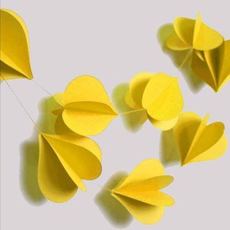 Гирлянда бумажная Сердца объемная Желтая