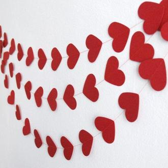 Бумажная гирлянда из сердечек красная 15 см
